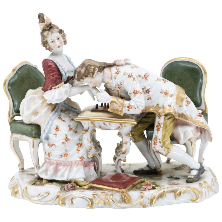 Porcelain Figurine of a Couple Playing Chess, Germany, Hand Painted For Sale