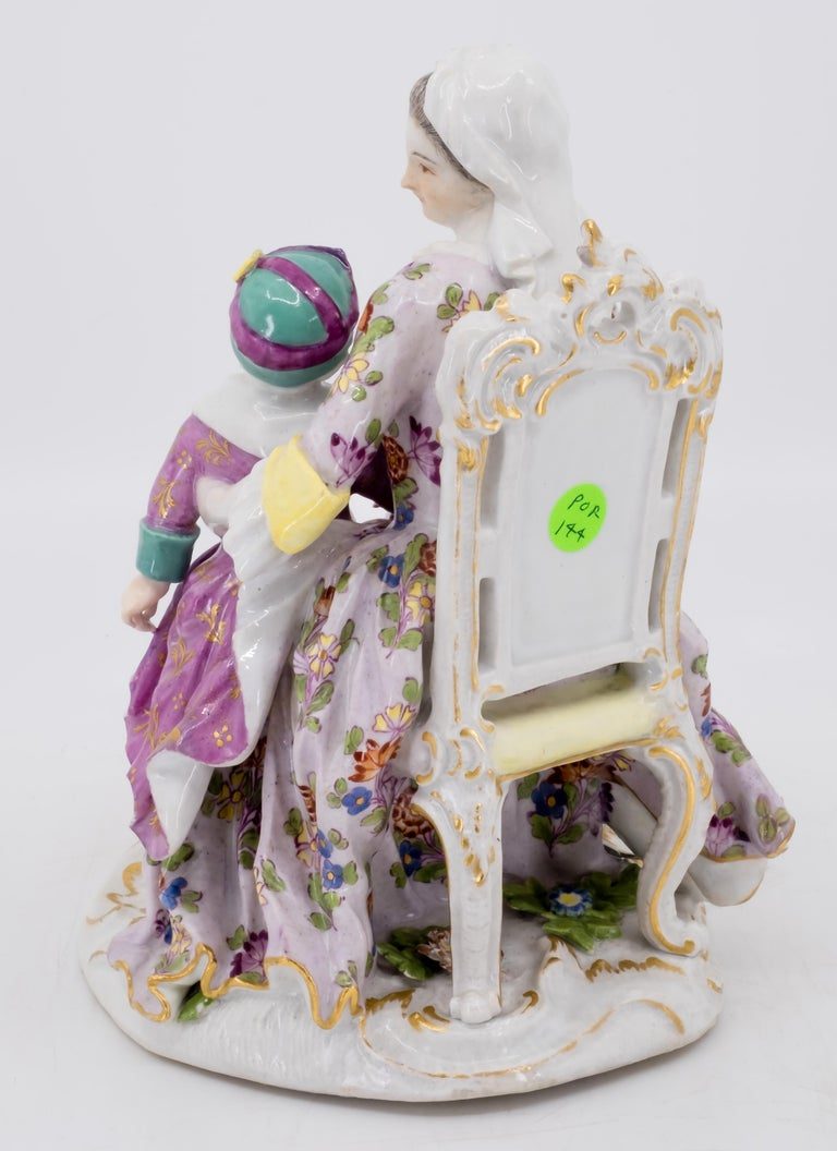 Classical Roman Porcelain Figurine of Mother and Childrens, Hand Painted 18th Century, Meissen For Sale
