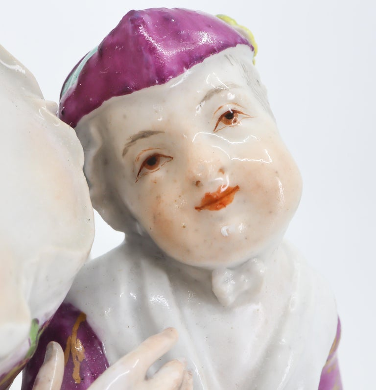 German Porcelain Figurine of Mother and Childrens, Hand Painted 18th Century, Meissen For Sale