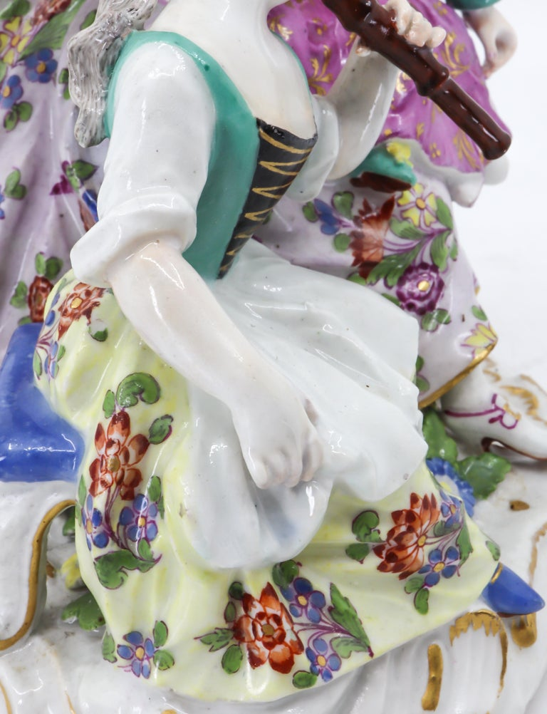 Porcelain Figurine of Mother and Childrens, Hand Painted 18th Century, Meissen For Sale 3