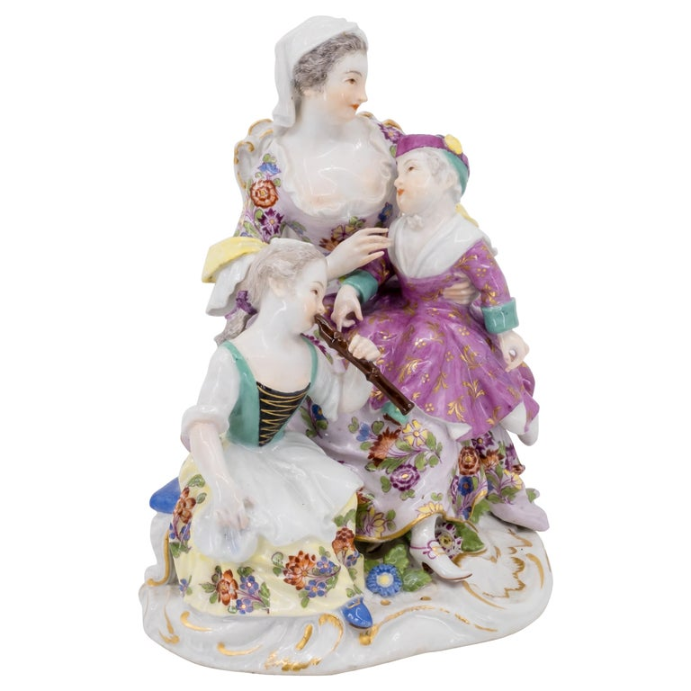 Porcelain Figurine of Mother and Childrens, Hand Painted 18th Century, Meissen For Sale