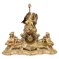 Porcelain Fireplace-Mantel Clock with Two Sphinxes and Cherubs KPM, Berlin