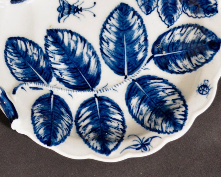 Georgian Porcelain First Period Worcester Underglaze Blue Blind Earl Leaf Sweetmeat Dish For Sale