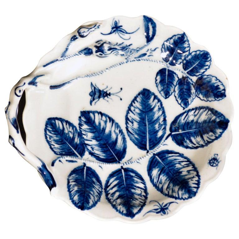 Porcelain First Period Worcester Underglaze Blue Blind Earl Leaf Sweetmeat Dish For Sale