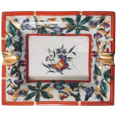 Porcelain Floral and Butterflies, Red and Gold Ashtray
