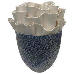 Blue and White Porcelain Floral Design Sculpture, Italy, Contemporary