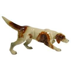 Porcelain Foxhound Dog Figurine, Holland 1950s