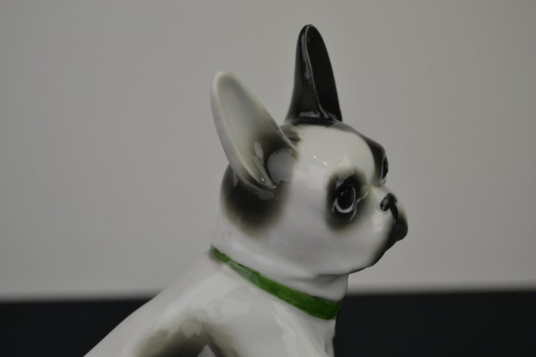 Porcelain French Bulldog, Boston Terrier Sculpture with Green Collar For Sale 4