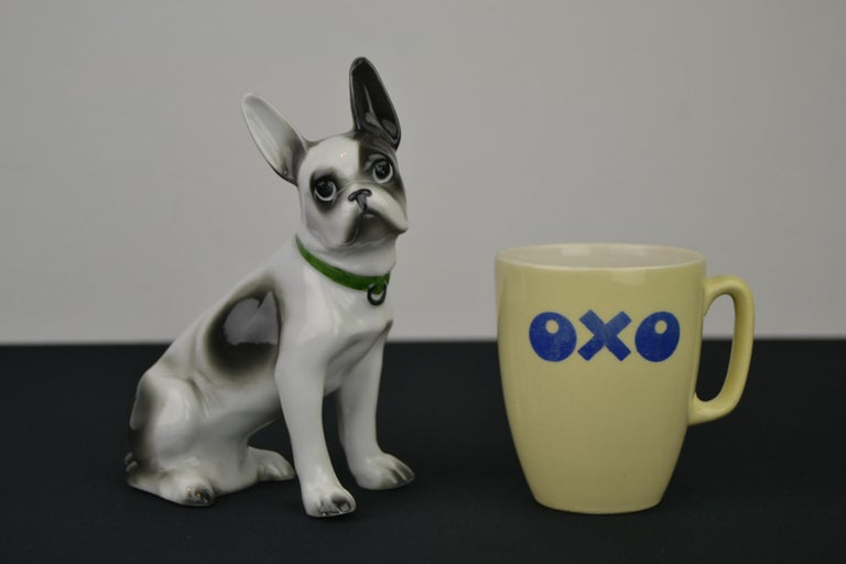 Porcelain French Bulldog, Boston Terrier Sculpture with Green Collar For Sale 13