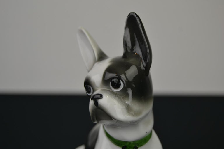 French bulldog sculpture or Boston terrier sculpture of porcelain. It's a white with dark grey bulldog wearing a green collar. A dog sculpture to add to your collection.  He does not have chips, but does have some small fabric imperfections (