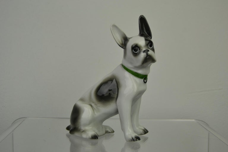 Porcelain French Bulldog, Boston Terrier Sculpture with Green Collar For Sale 14