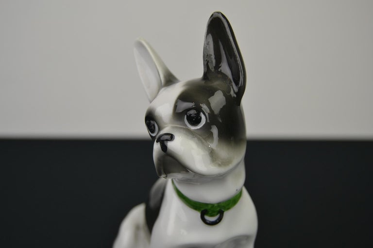 Art Deco Porcelain French Bulldog, Boston Terrier Sculpture with Green Collar For Sale