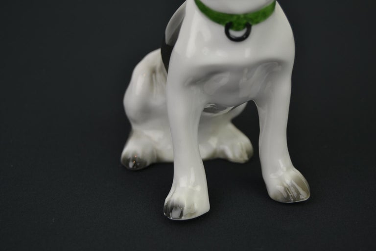 Porcelain French Bulldog, Boston Terrier Sculpture with Green Collar In Good Condition For Sale In Antwerp, BE