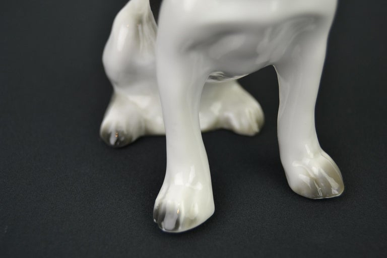 20th Century Porcelain French Bulldog, Boston Terrier Sculpture with Green Collar For Sale