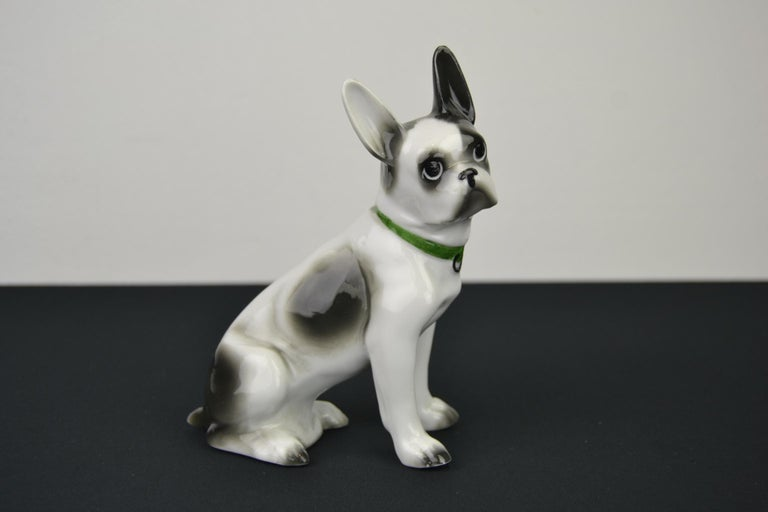 Porcelain French Bulldog, Boston Terrier Sculpture with Green Collar For Sale 1
