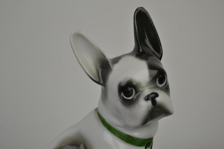 Porcelain French Bulldog, Boston Terrier Sculpture with Green Collar For Sale 2