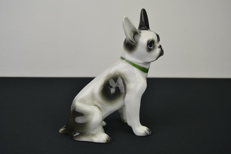 Porcelain French Bulldog, Boston Terrier Sculpture with Green Collar For Sale 3