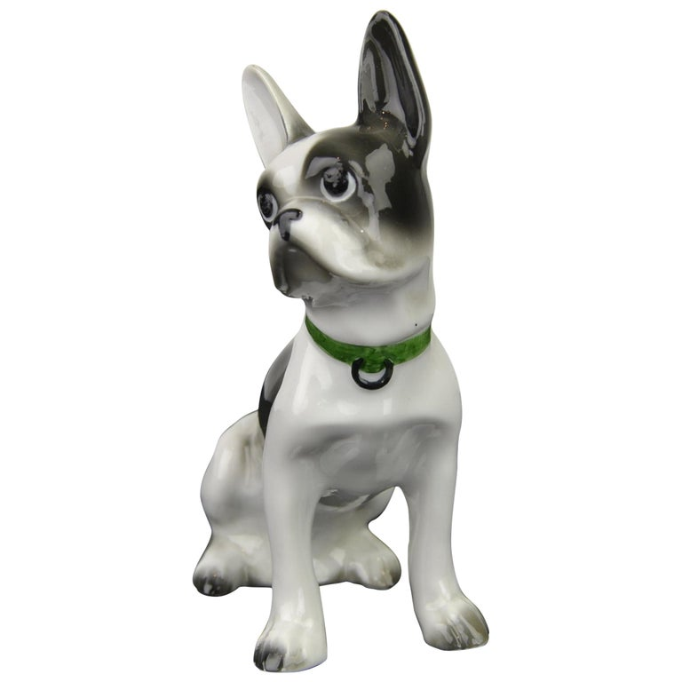 Porcelain French Bulldog, Boston Terrier Sculpture with Green Collar For Sale