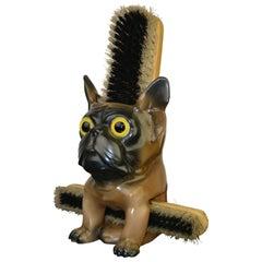 Porcelain French Bulldog Brush Holder, Europe, 1930s