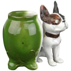 Porcelain French Bulldog Sculpture Mustard Pot, Art Deco