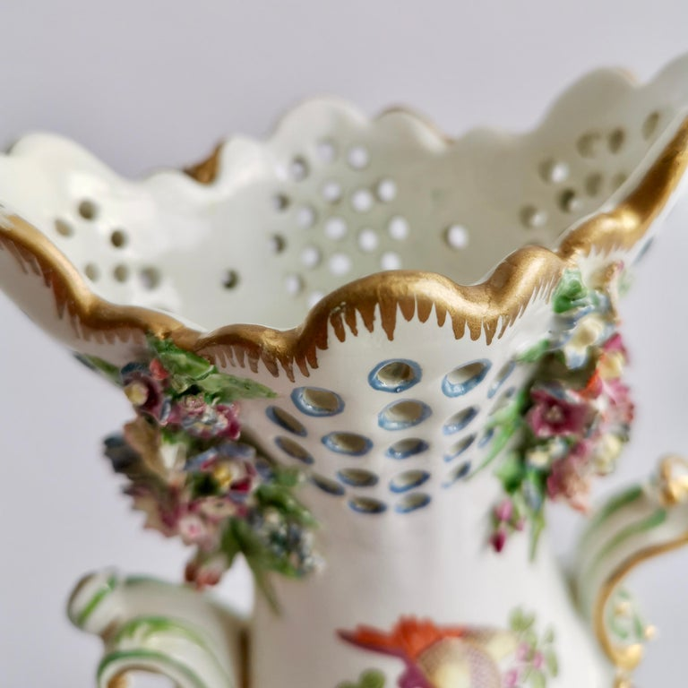 Porcelain Frill Vase in 18thC Chelsea Style Attr. to Edmé Samson, Rococo 19thC For Sale 8
