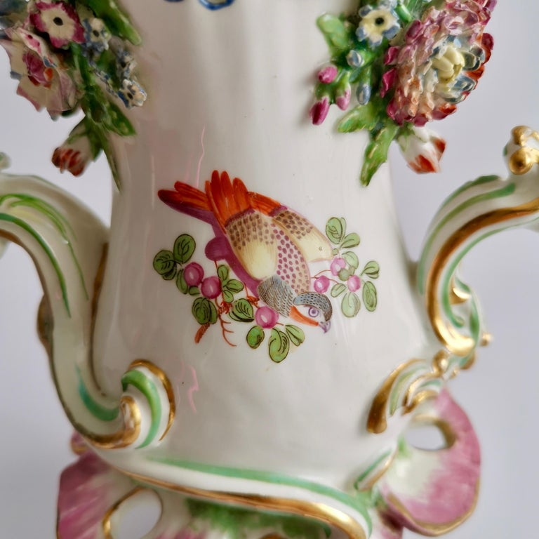 19th Century Porcelain Frill Vase in 18thC Chelsea Style Attr. to Edmé Samson, Rococo 19thC For Sale