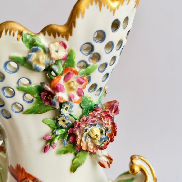 Porcelain Frill Vase in 18thC Chelsea Style Attr. to Edmé Samson, Rococo 19thC For Sale 2