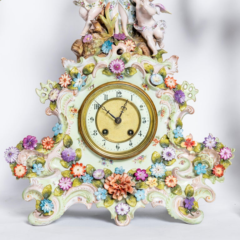 Rococo Porcelain Garniture with Flowers and Angels. Germany, circa 1900 For Sale