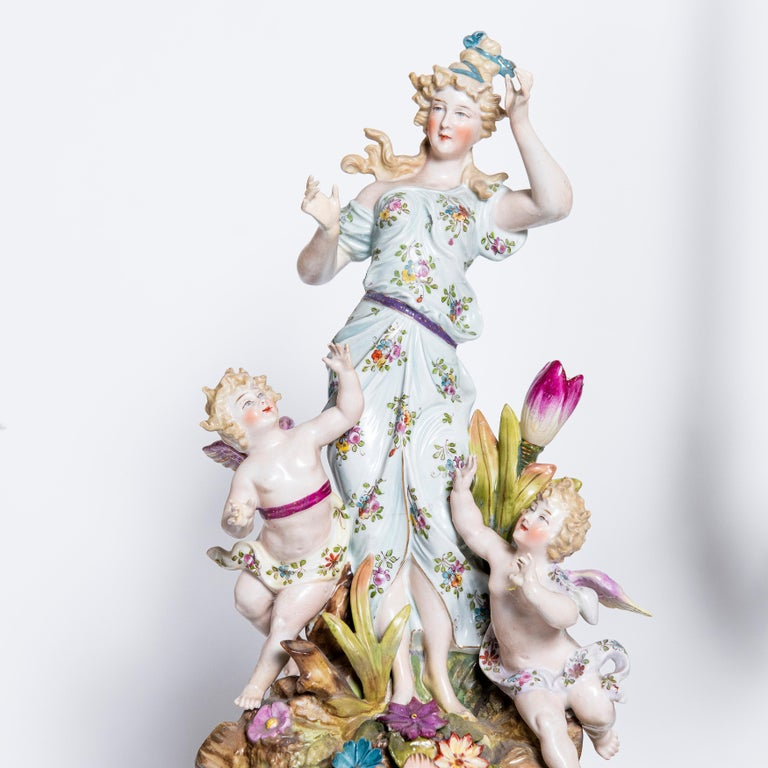 20th Century Porcelain Garniture with Flowers and Angels. Germany, circa 1900 For Sale