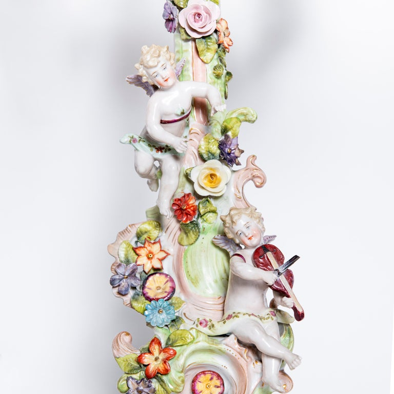 Porcelain Garniture with Flowers and Angels. Germany, circa 1900 For Sale 2