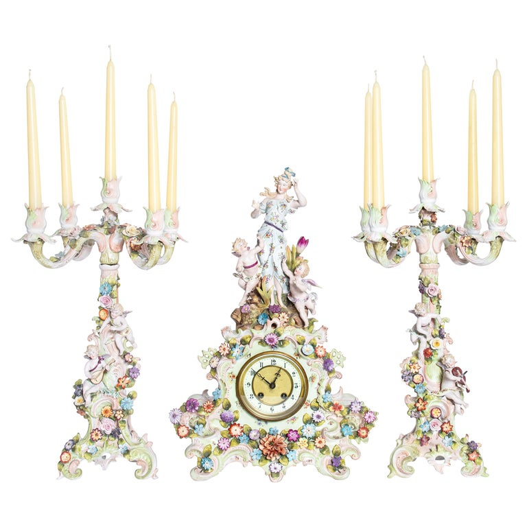 Porcelain Garniture with Flowers and Angels. Germany, circa 1900 For Sale
