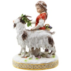 Porcelain Goat and Child, Hand Painted, Meissen, 19th Century