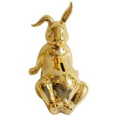 Porcelain Gold Bunny Belly Money Bank