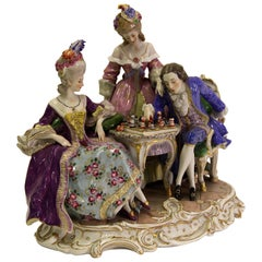 """Porcelain Group, """"The noble rococo game of chess"""", German Manufacturer"""