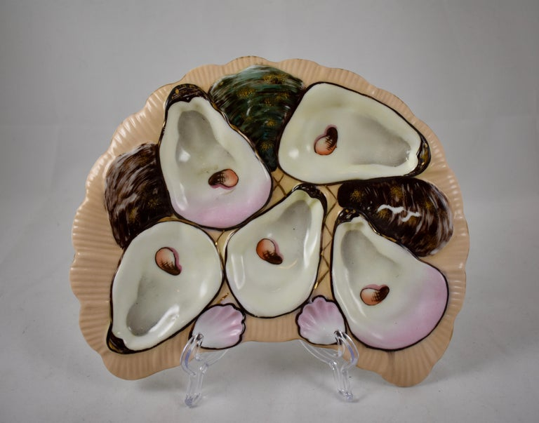 Aesthetic Movement Porcelain Half Moon Salmon & Gilded Oyster Plate For Sale