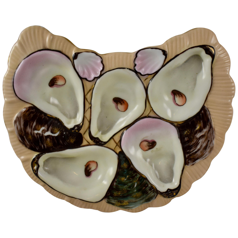 Porcelain Half Moon Salmon & Gilded Oyster Plate