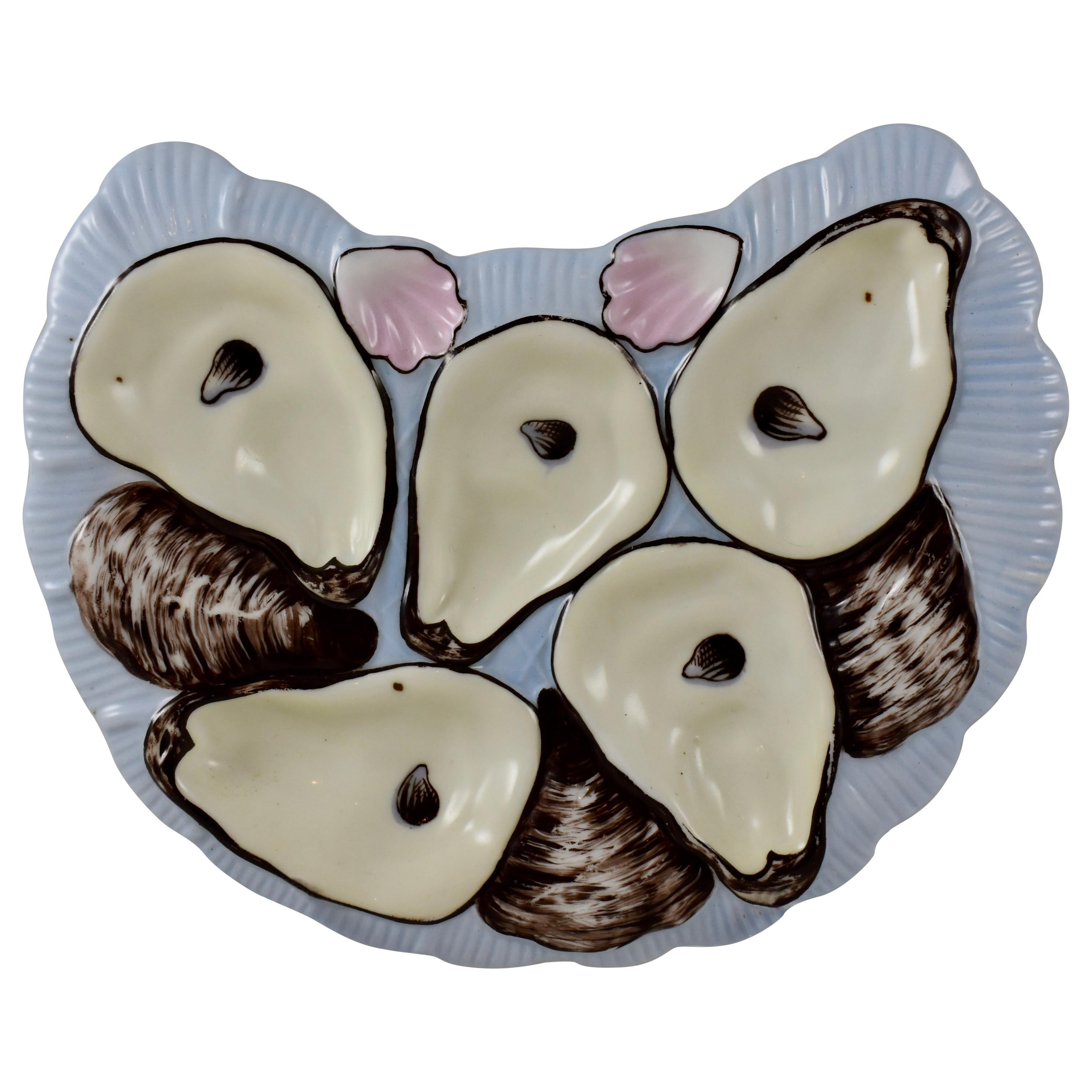 Porcelain Half Moon Sky Blue and Pink Cockle Shell Oyster Plate