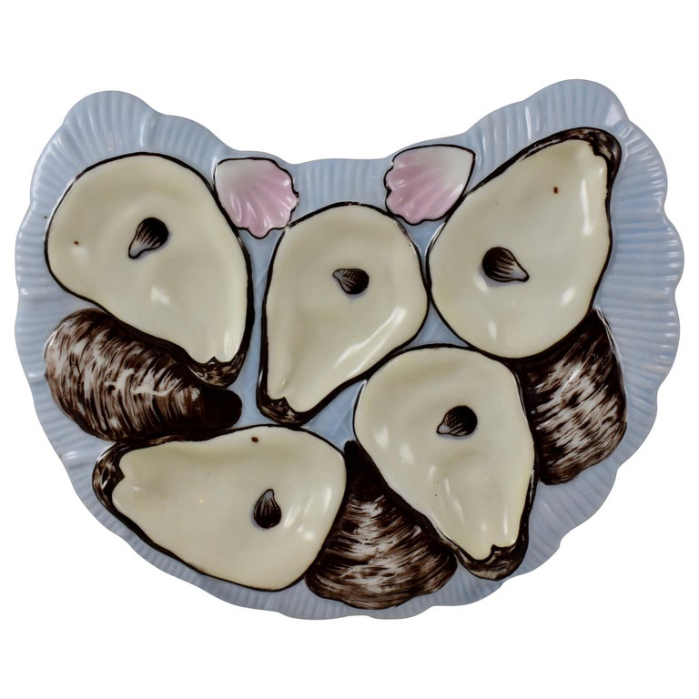 Porcelain Half Moon Sky Blue and Pink Cockle Shell Oyster Plate For Sale