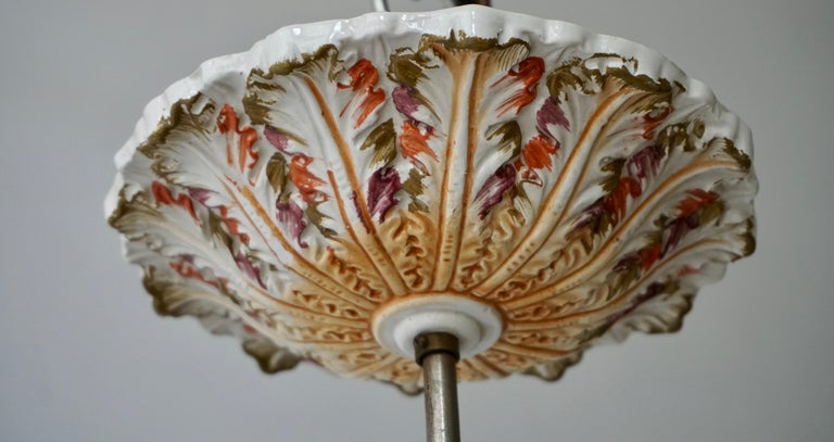 Porcelain Hanging Planter/Jardinière with Winged Putti For Sale 4
