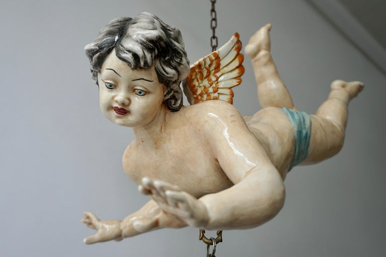 Porcelain Hanging Planter/Jardinière with Winged Putti For Sale 5