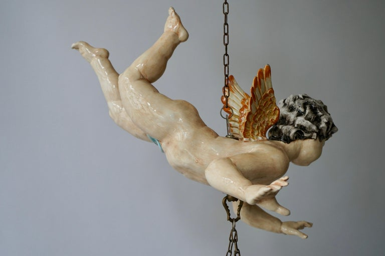 Porcelain Hanging Planter/Jardinière with Winged Putti For Sale 8