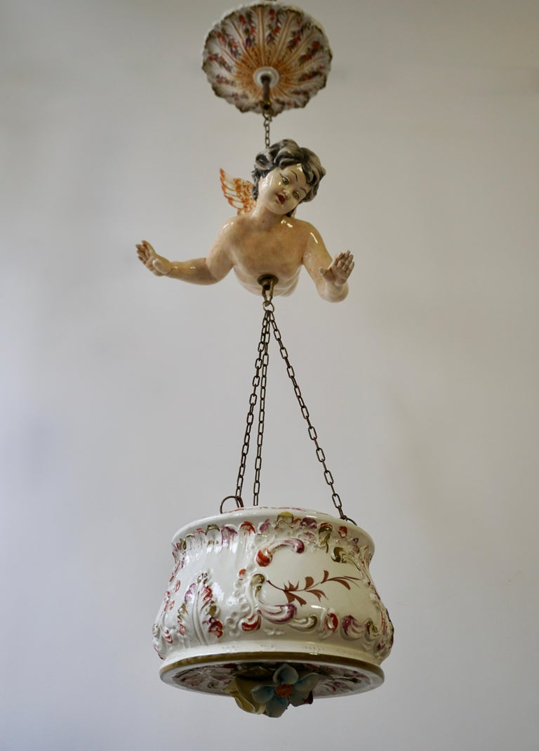 Porcelain Hanging Planter/Jardinière with Winged Putti For Sale 11