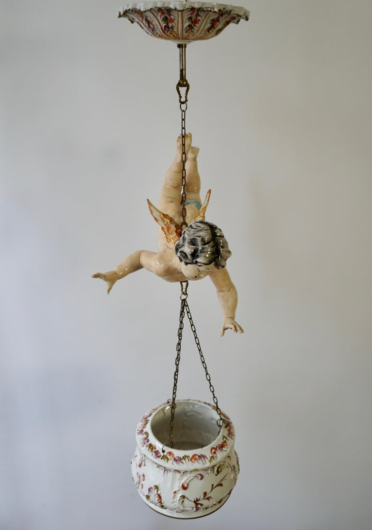 Porcelain Hanging Planter/Jardinière with Winged Putti For Sale 12