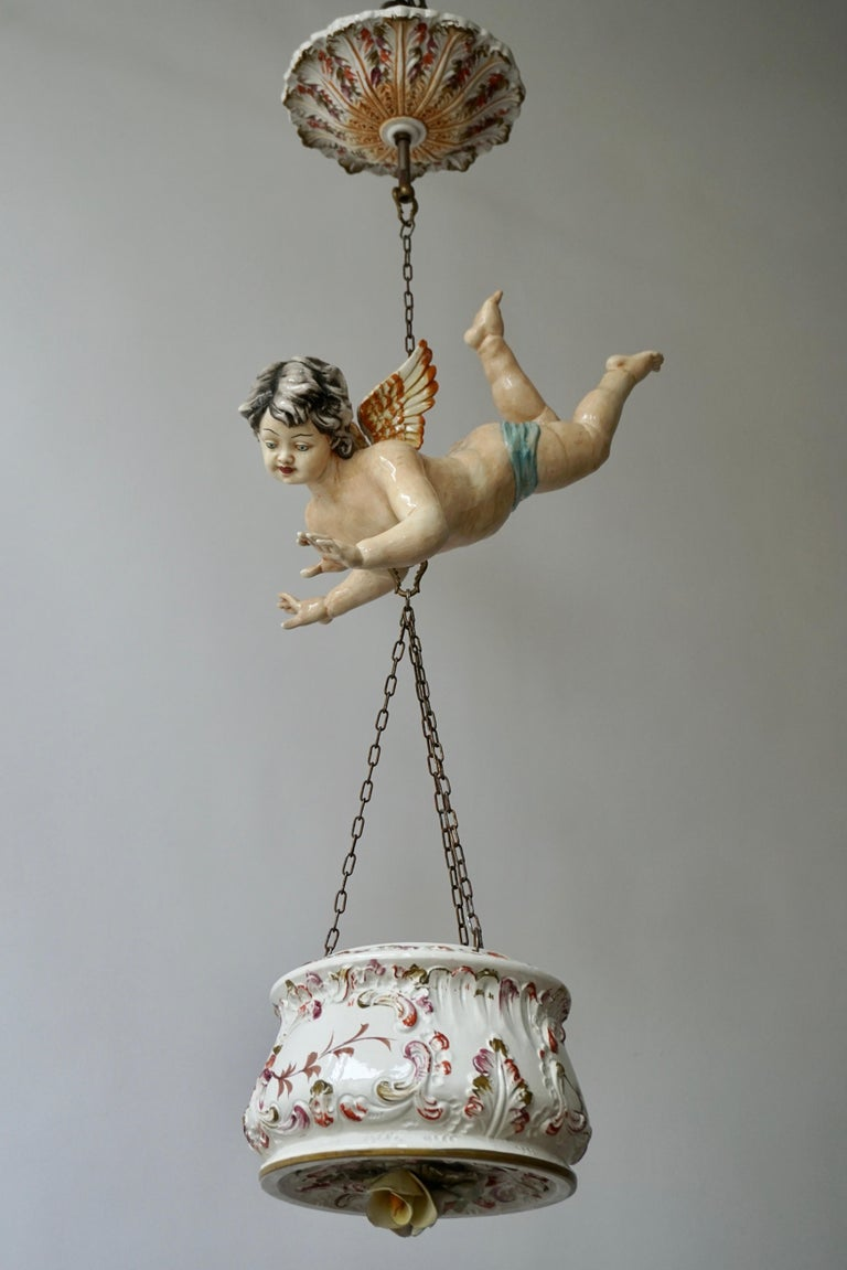 Hollywood Regency Porcelain Hanging Planter/Jardinière with Winged Putti For Sale