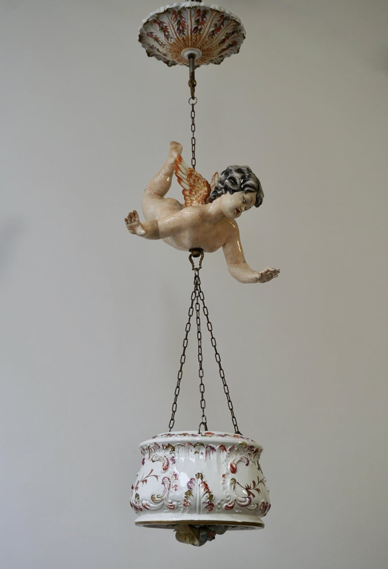 Brass Porcelain Hanging Planter/Jardinière with Winged Putti For Sale