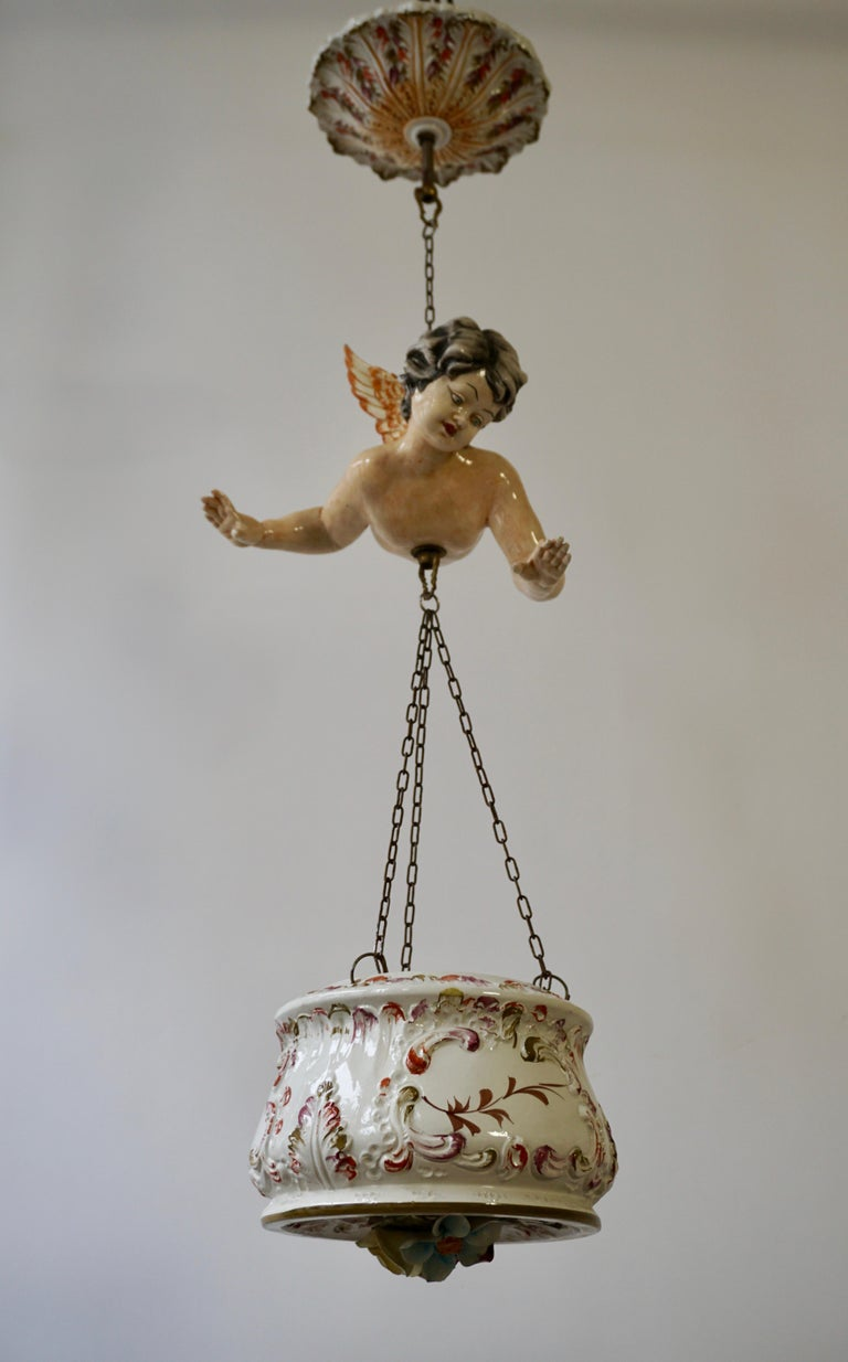 Porcelain Hanging Planter/Jardinière with Winged Putti For Sale 2
