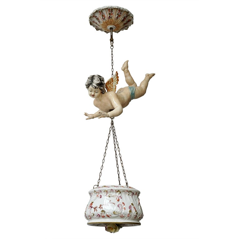 Porcelain Hanging Planter/Jardinière with Winged Putti For Sale