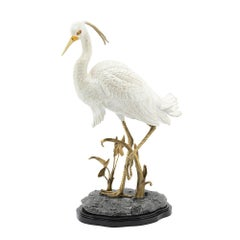 Porcelain Heron Sculpture in Hand Painted Porcelain and Brass