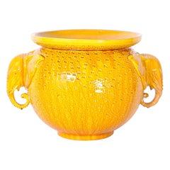 Porcelain Jardiniere with Elephants and a Yellow Glaze