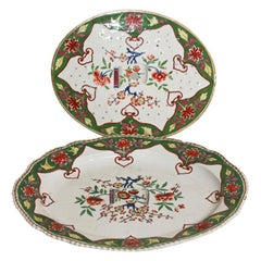 "Porcelain Large Meat Platter with Matching Drainer ""Chinoiserie"" Design"